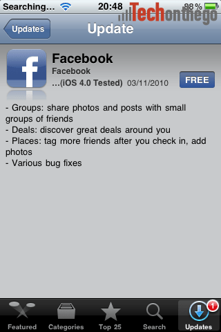 facebook-iphone-app-update deals and groups