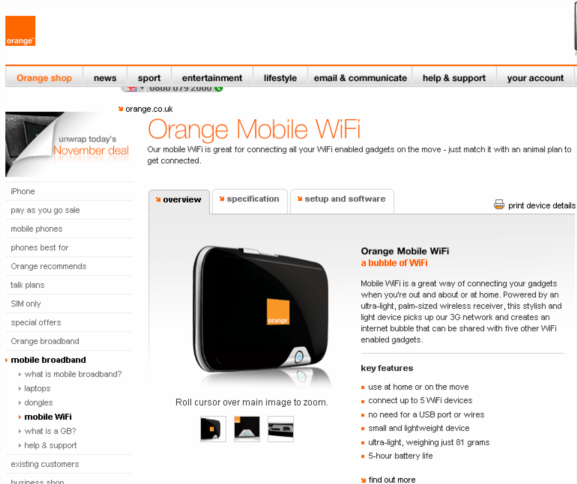 orange launch mobile wifi hotspot