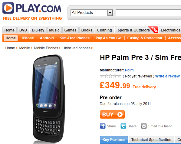 hp palm pre 3 pre order on play