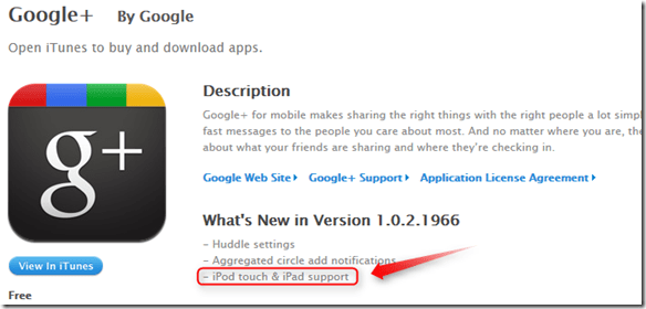 google plus updated to work on ipad and ipod touch