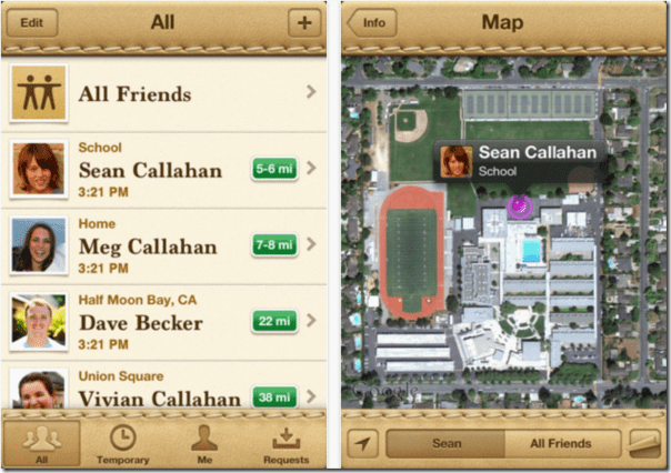 apple find my friends app view