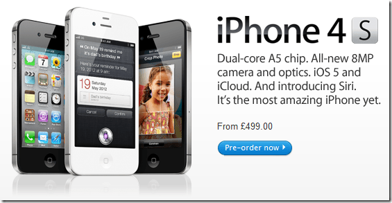 apple iphone4s now available for preorder