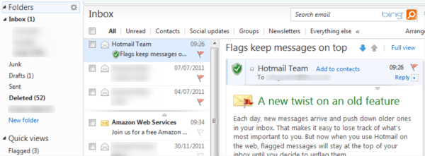 windows live mail keeps flagged messages at top of inbox