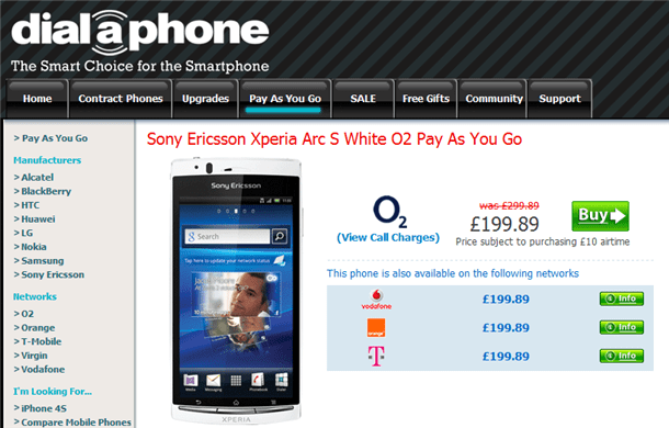 sony ericsson xperia arc s now on sale for £199