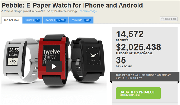 pebble e-paper watch for iphone and android crosses 2million in pledge funding