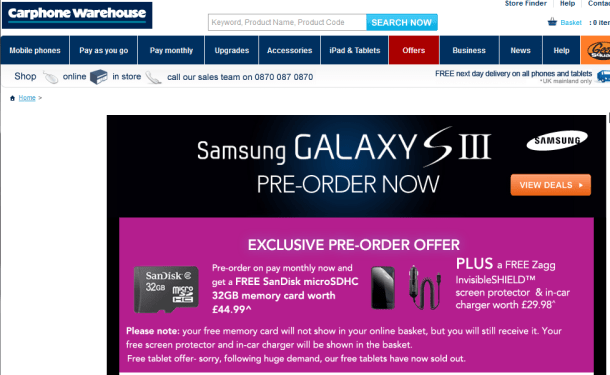 Samsung Galaxy S3 Available to Pre order now from Carphone Warehouse