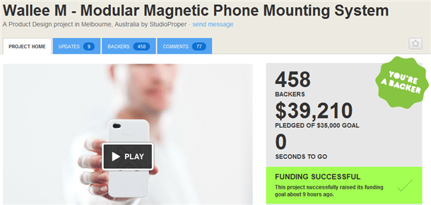 wallee magneitic phone mounting system kickstarter success
