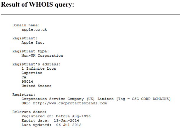 whois lookup of apple.co.uk domain after purchased by Apple