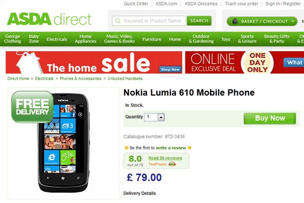 nokia lumia 610 available for £79 from asda