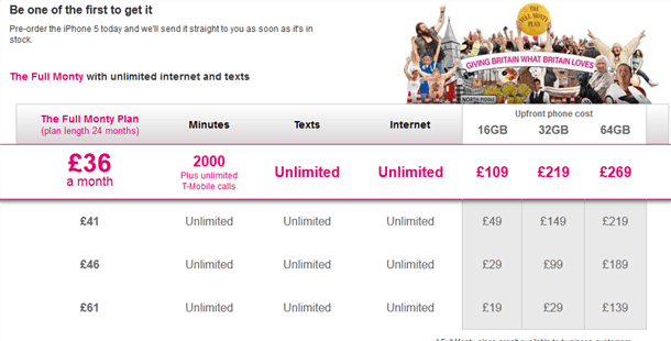 t-mobile announce iphone5 tariff prices