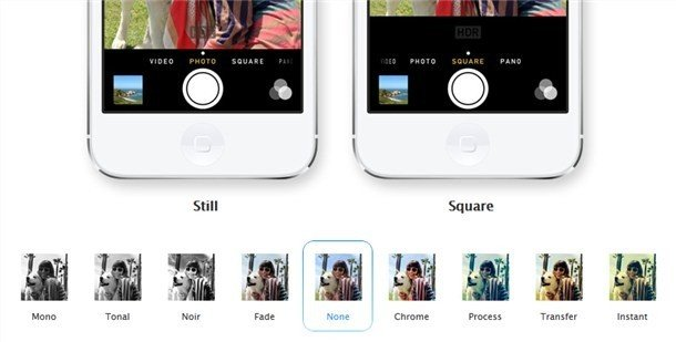 ios7 camera changes and filters