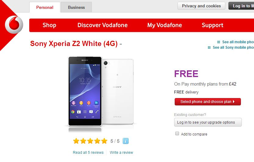 Sony Xperia Z2 Now Available Vodafone UK