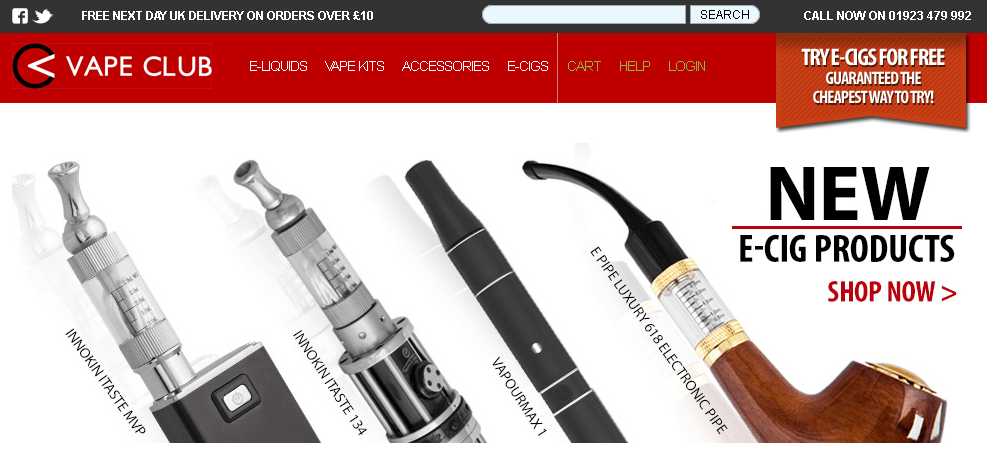 Vape Club Online Shop Front
