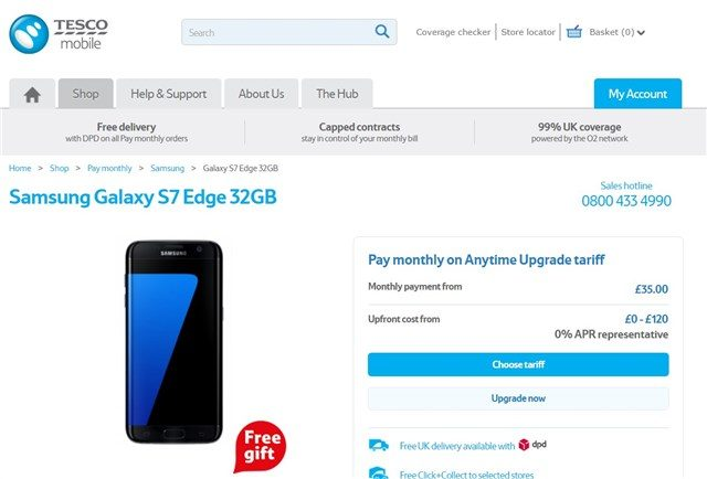 Tesco Mobile Offering Premium Gifts With Samsung S7 or S7 Edge Handsets
