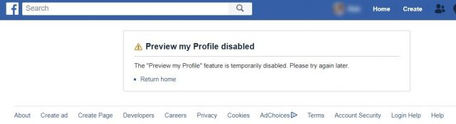 facebook view as feature disabled