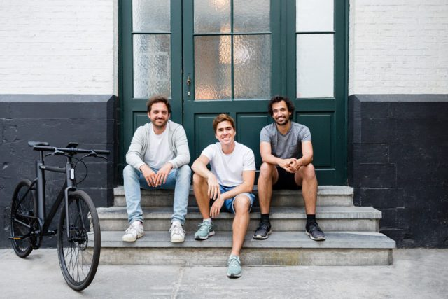 cowboy electric bike founders Adrien Roose and Karim Slaoui and Tanguy Goretti