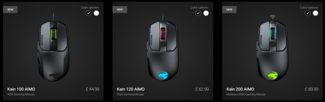 new roccat kain gaming mouse range