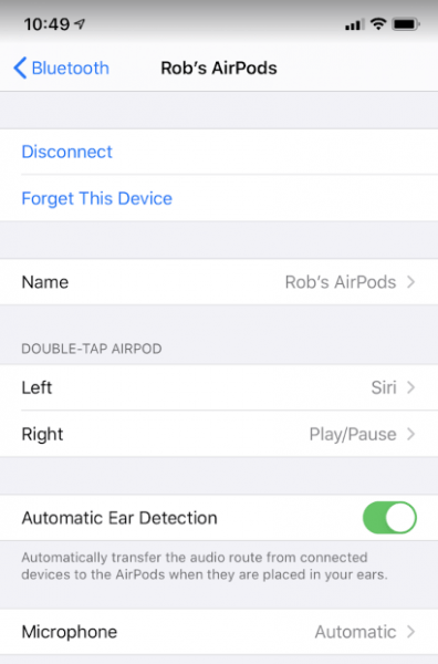 ios13 airpods configuration screen
