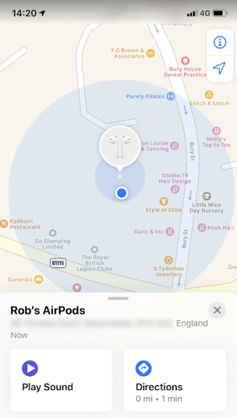 ios13 airpods find my screen location
